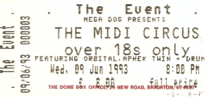 Midi Circus ticket June 9th 1993 Brighton