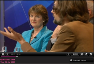Horse manure? Harriet gives Jarvis nose up on Question Time 02/07/09
