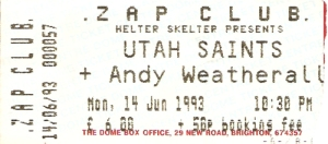 Utah Saints ticket 1993
