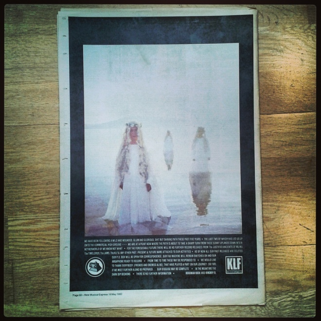 The KLF advert NME rear cover w/e 16/05/92